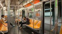 Passengers on MTA subway train in New York, USA Stock Photos