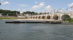 Pont Wilson bridge across River Loire Tours, France Stock Footage