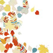 Autumn leaves falling and spinning on white. Stock Illustration