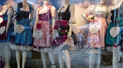 Window Shopping Fashionable Dirndl Historical Traditional costume Alpine Stock Footage