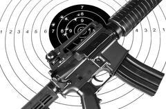 Rifle and shooting target Stock Photos