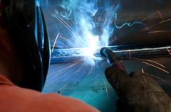 Welding process in detail Stock Photos