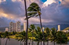 retro honolulu hawaii skyline - stock photo