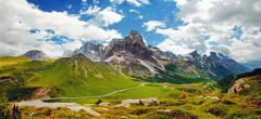 italian dolomiti - nice panoramic view - stock photo