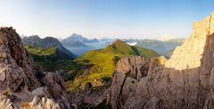 Nice panoramic view of high mountains Stock Photos