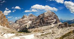 panoramic view of dolomiti - group tofana - stock photo