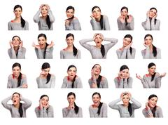 Young woman showing several expressions, isolated Stock Photos