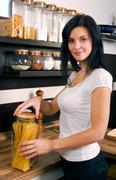 woman preparing lunch - stock photo