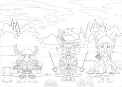 Fantasy heroes in forest, contour Stock Illustration
