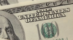 Stock Video Footage of One hundred dollars banknotes macro.