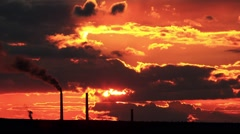 Factory pipe polluting air at sunset. environmental Problems. (timelapse) Stock Footage