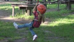 Child Climbing in Forest Sliding Down, Adventure Park, Tyrolean, Extreme Sport Stock Footage