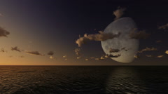 Giant big moon over the sea Stock Footage