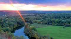 Timelapse sunset on the river Seversky Donets. Donetsk region, Ukraine.  Stock Footage