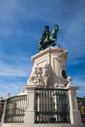 Bronze statue of king jose i from 1775 on the commerce square, lisbon, portug Stock Photos