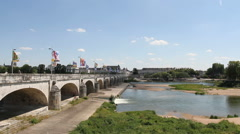 Traffic on Pont Wilson bridge across River Loire Tours, France Stock Footage