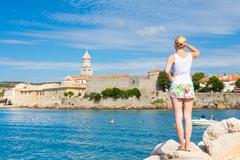 Krk town, Mediterranean, Croatia, Europe - stock photo