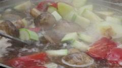 Fish ear on open fire Stock Footage