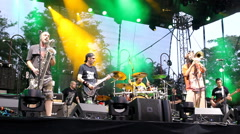 Show Band pop punk alter  reggae ska punk hard core metal band on music festival Stock Footage