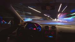 4K & HD resolutions: The night car driving time lapse, wide angle Stock Footage