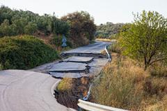 because of the violation of technology in the construction of roads, water wa - stock photo
