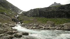 Trollstigen serpentine mountain road Stock Footage