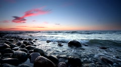 Beautiful sunset over Baltic sea Stock Footage