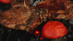 Flame grilled steak Stock Footage