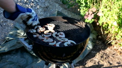 Grilling in the backyard -lightning charcoal Stock Footage
