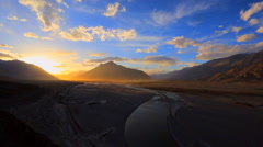 Nubra valley at sunset Stock Footage
