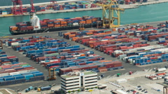 Barcelona commercial port container ship loading time lapse HD - stock footage