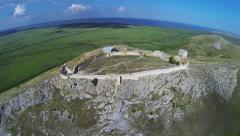 Enisala Fortress - Old ruins and beautiful Danube Delta view Stock Footage
