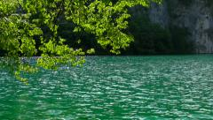 Turquoise lake - slow motion dolly Stock Footage