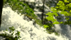 Slow motion waterfalls - pull focus Stock Footage