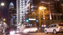 Charlotte Uptown Tryon Street - Nighttime TimeLapse Stock Footage