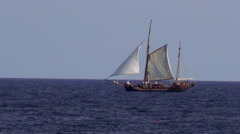 Old sailing ship on the ocean Stock Footage