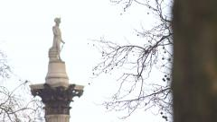 Captian Horatio Nelson statue, which overlooks Trafalgar Square, London - stock footage