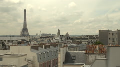 Paris skyline with Eiffel Tower Stock Footage