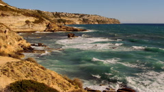 Beautiful cliffline of Mallorca in the late afternoon on a sunny day Stock Footage
