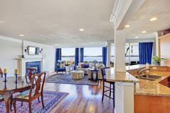House interior with open floor plan. Stock Photos