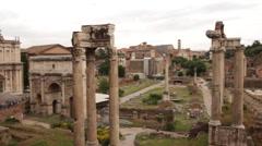 Roman Forum panning shot Stock Footage