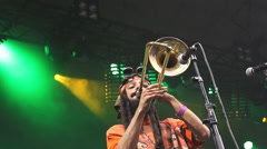 rasta reggae ska punk hard core metal band on music festival - stock footage