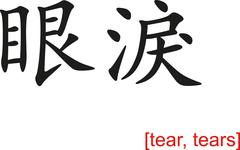Chinese Sign for tear, tears - stock illustration