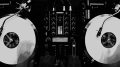 Dj Hands A Mix On Decks Black And White Fast - stock footage