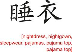 Chinese Sign for nightdress, sleepwear, pajamas, pajama top Stock Illustration