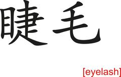 Chinese Sign for eyelash - stock illustration