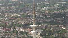 Aerial footage of Hamburg's telecommunication tower Stock Footage