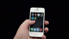 Apple store application on a white iPhone display Stock Footage