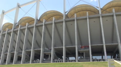 Modern football stadium, celebrating stage for fans, nice architectural columns Stock Footage