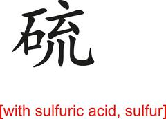 Chinese Sign for with sulfuric acid, sulfur - stock illustration